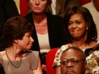 Valerie Jarrett (L), and Michelle Obama September 26, 2008 in Oxford, Mississippi.