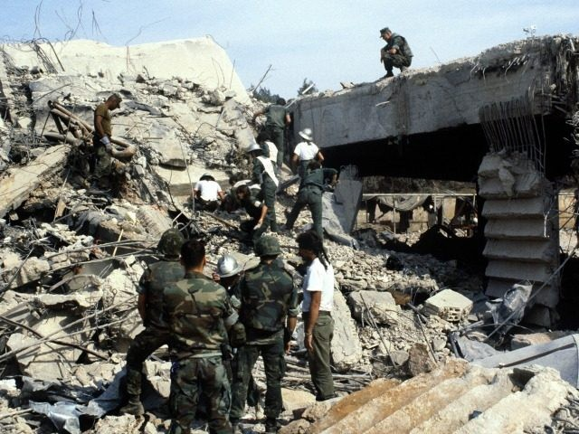 US marines continue to search for victims, on October 31, 1983, after a terrorist attack against the headquarters of the U.S. troops of the multinational force that killed 241 American soldiers on October 23, 1983 in Beirut.