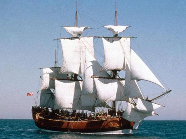 A replica of The HMS Endeavour. Photo courtesy of the Australian National Maritime Museum