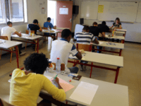 High school students take the philosophy exam, the first test session of the 2015 baccalaureate (high school graduation exam) on June 17, 2015 in La Possession, on the western part of the island of la Reunion, in the Indian ocean.