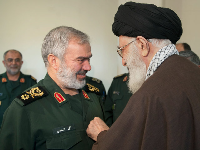 "IRAN, Tehran : TEHRAN, IRAN - JANUARY 31: Supreme Leader of Iran Ali Khamenei (R) presents a medal named ""Fath"" to Iranian Navy Admiral Ali Fadavi in Tehran, Iran on January 31, 2016 during a ceremony with the attendance of four other Iranian soldiers who take US soldiers under custody in Persian Gulf. Pool / Iranian Supreme Leader Press Office / Anadolu Agency"