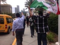 Latinos protest Donald Trump with Mexican flag (Adelle Nazarian / Breitbart News)