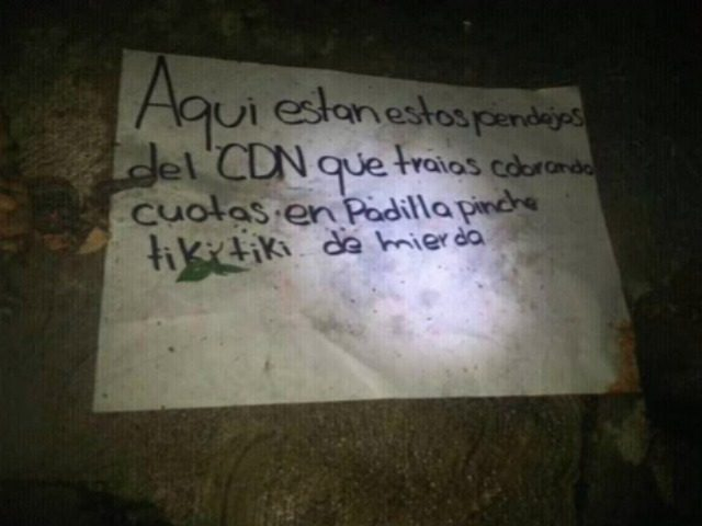 Los Zetas Beheading Banner
