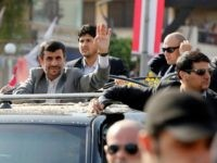 Iranian President Mahmoud Ahmadinejad waves to the crowed in southern suberb of Beirut upon his arrival in Lebanon on Wednesday October 13, 2010 for a controversial visit seen as a boost for key ally Hezbollah and that will take him close to the border with arch-foe Israel. (Salah Malkawi/ Getty …