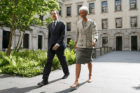 LONDON, UNITED KINGDOM - MAY 13: Managing Director of the International Monetary Fund Christine Lagarde meets with Britain's Chancellor George Osborne at the Treasury, prior to a press conference on May 13, 2016 in London, England.