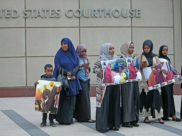 Supporters and family members of Somali men standing trial rally for a protest in front of the United States Courthouse, Monday, May 9, 2016 in Minneapolis. Six defendants have pleaded guilty to conspiring to provide material support to the Islamic State group. Three defendants have pleaded not guilty. Another man …