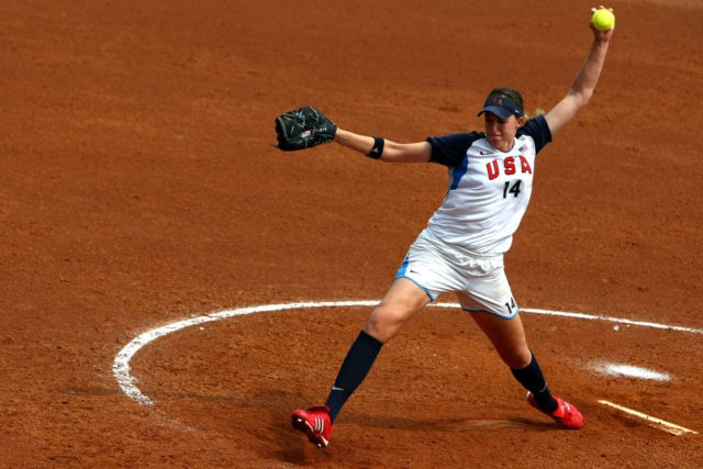 BEIJING - AUGUST 20: Monica Abbott #14 of the United States throws a pitch against Japan in the women's semifinals softball event at the Fengtai Softball Field during Day 12 of the Beijing 2008 Olympic Games on August 20, 2008 in Beijing, China. (Photo by Clive Rose/Getty Images)