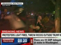 CNN's Simon: Rocks and Bottles Thrown at Police By Protesters Outside New Mexico Trump Rally