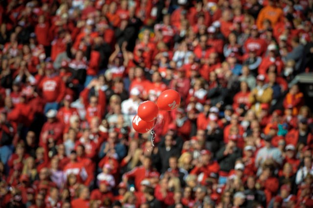 LINCOLN, NE - OCTOBER 5: Balloons are released after the first Nebraska Cornhuskers score during their game against the Illinois Fighting Illini at Memorial Stadium on October 5, 2013 in Lincoln, Nebraska. (Photo by Eric Francis/Getty Images)