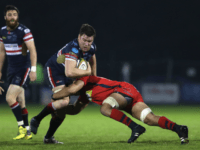 DONCASTER, ENGLAND - MAY 18: Ollie Steadman of Doncaster Knights is tackled during the Greene King IPA Championship Play Off Final match First Leg between Doncaster Knights and Bristol Rugby at Castle Park rugby stadium on May 18, 2016 in Doncaster, England.