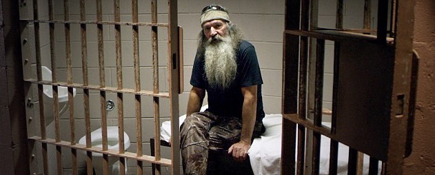 Phil Robertson filming in Martin Luther King, Jr.'s Birmingham Jail Cell