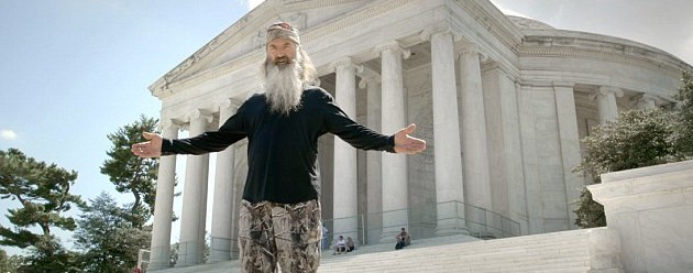 Phil Robertson filming at the Jefferson Memorial
