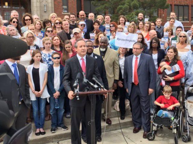Texas AG joins parent's protest