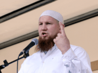 HAMBURG, GERMANY - JULY 09: Radical Muslim cleric Pierre Vogel speaks during a gathering of sympathizers on July 9, 2011 in Hamburg, Germany.