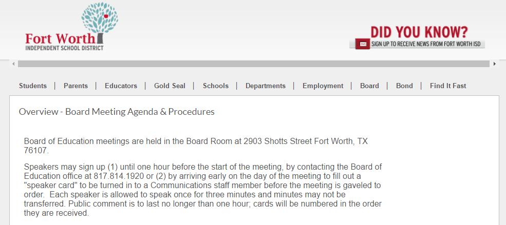 Revised FWISD Board Meeting Procedures 051916