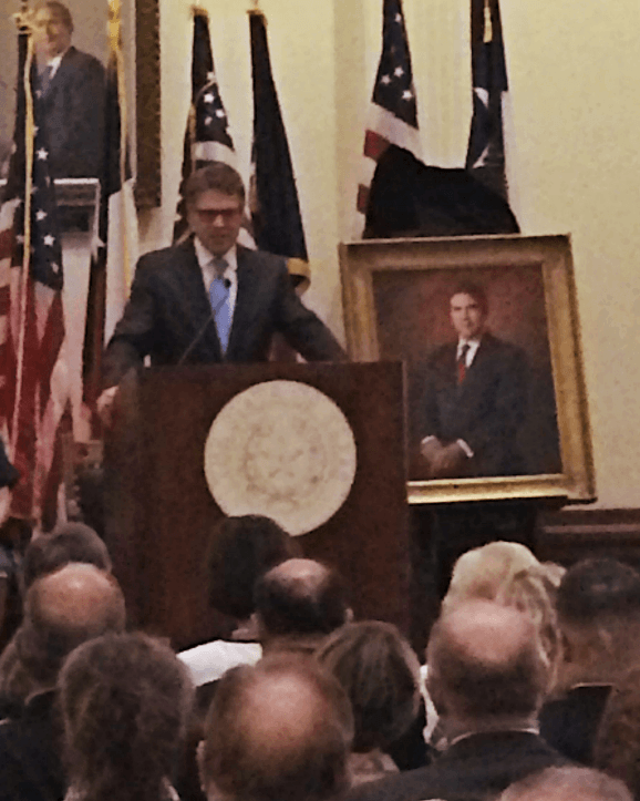 Former Texas Governor Rick Perry's portrait will adorn the wall in the capitol rotunda along with all previous Texas governors.