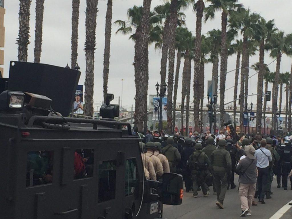 Riot police Donald Trump San Diego (Michelle Moons / Breitbart News)
