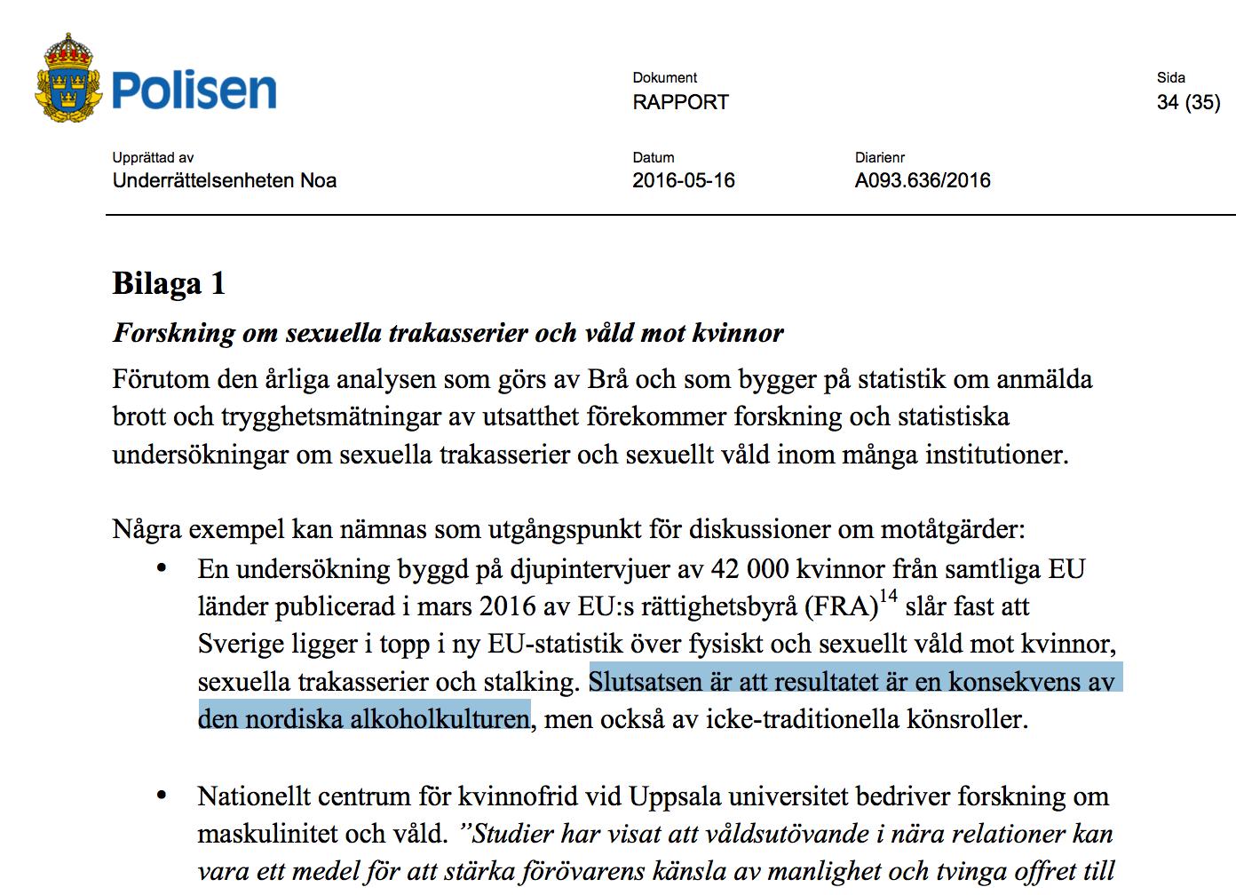 Ruotsin poliisin raportti