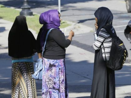 Members of the Somali community visit near a park in Minneapolis. File