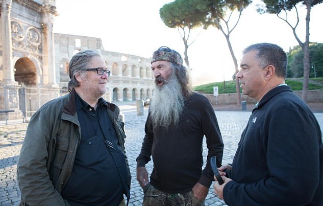 Stephen K. Bannon, Phil Robertson, and David Bossie filming in Rome