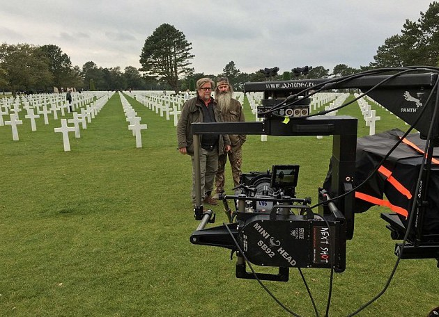 Stephen K. Bannon and Phil Robertson filming at the American Cemetery in Normandy