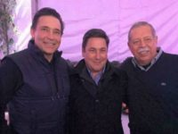 Former Tamaulipas Governor Eugenio Hernandez poses with gubernatorial candidate Baltazar Hinojosa and current governor Egidio Torre Cantu