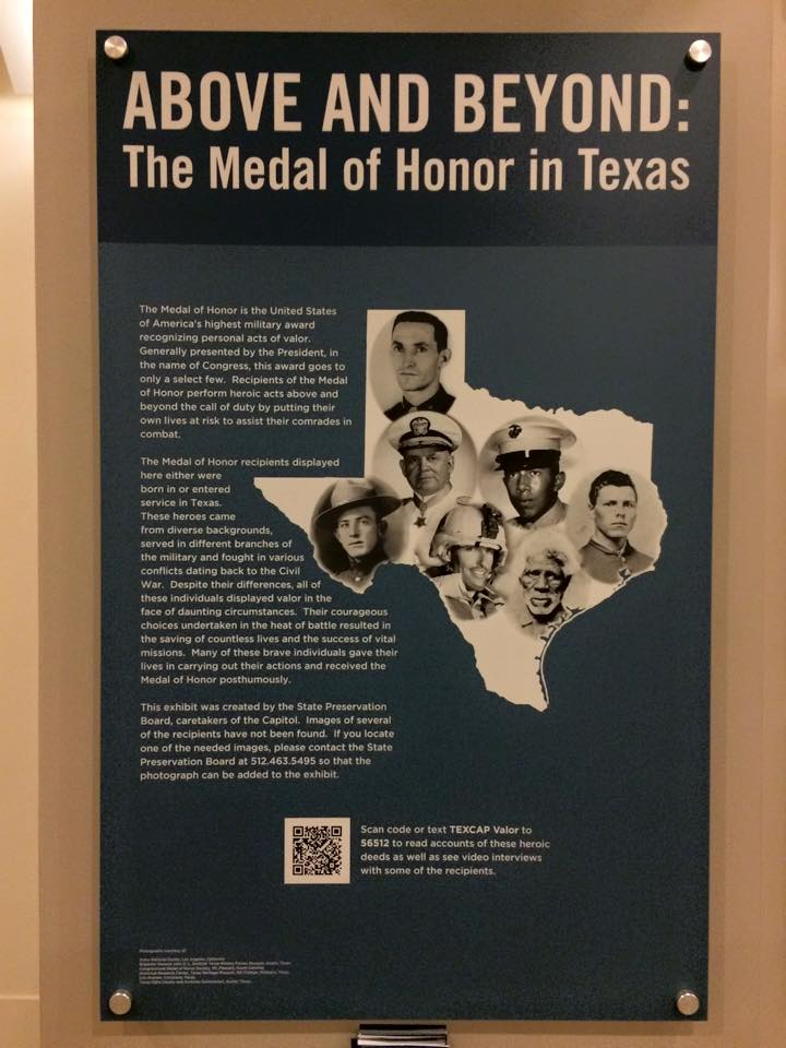 Medal of Honor Memorial in State Capitol. (Texas Capitol Visitor's Center Photo)