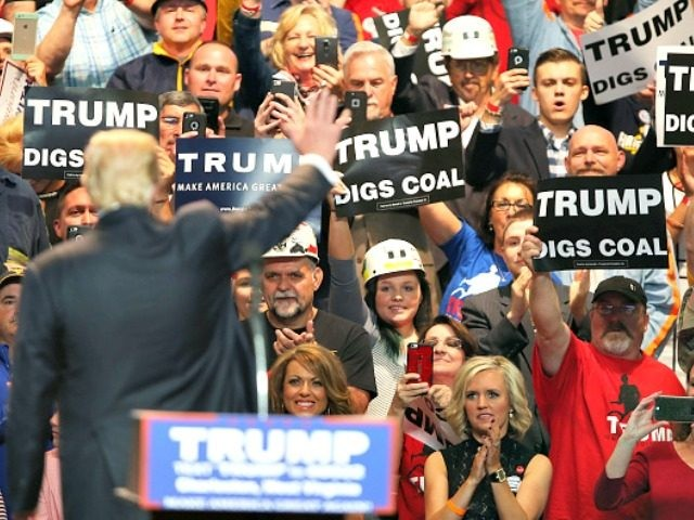 CHARLESTON, WV - MAY 05: Supporters cheer for United States Republican Presidential candidate Donald Trump during his rally at the Charleston Civic Center on May 5, 2016 in Charleston, West Virginia. Trump became the Republican presumptive nominee following his landslide win in indiana on Tuesday.(Photo by Mark Lyons/Getty Images)