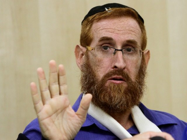 Rabbi Yehuda Glick, a hardline campaigner for Jewish prayer rights at the al-Aqsa mosque compound, gives a press conference at Shaare Zedek hospital in Jerusalem, on November 24, 2014.
