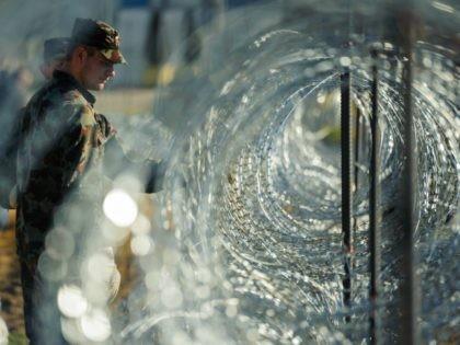 Slovenian soldiers build a razor wire fence on the Slovenian-Croatian border in Gibina, northeastern Slovenia, on November 11, 2015. Slovenia's army began on November 11 rolling out razor wire along the border with Croatia, in a move billed by the government as designed to better manage the influx of migrants. …