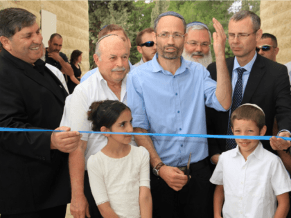 Israeli Knesset Members attend the ribbon-cutting ceremony for the new visitors center in Kfar Etzion