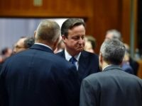 British Prime Minister David Cameron (2nd L) speaks with Bulgarian president Rosen Plevneliev (L) and Cyprus' President Nicos Anastasiades before the final European Union (EU) summit of the year at the European Council in Brussels on December 17, 2015.