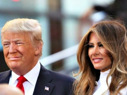 NEW YORK, NY - APRIL 21: Republican presidential candidate Donald Trump sits with his wife Melania Trump while appearing at an NBC Town Hall at the Today Show on April 21, 2016 in New York City. The GOP front runner appeared with his wife and family and took questions from …