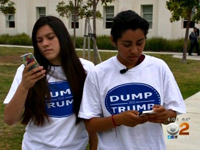 dump trump shirts at school CBS Los Angeles