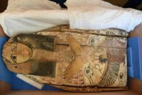 An ancient sarcophagi cover, which Israel handed back to Egypt, can be seen during the handing over ceremony in Jerusalem May 22, 2016. Israeli Foreign Ministry/Handout via