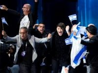 Hovi Star representing Israel celebrates as he advances to the grand final, after qualifying in the second semi-final of the Eurovision Song Contest 2016 in Stockholm, Sweden, on May 12, 2016.