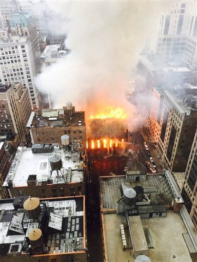 Massive Fire Engulfs Church in Manhattan