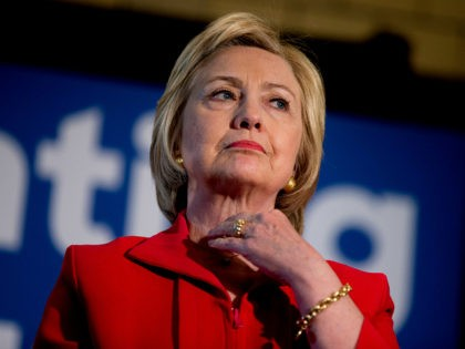 In this May 16, 2016 photo, Democratic presidential candidate Hillary Clinton waits to speak at a get out the vote event at La Gala in Bowling Green, Ky. Hillary Clinton has a message for Donald Trump: Bring it on. As Clinton's path to the Democratic nomination seems all-but-assured, friends, aides …