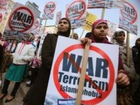Muslim protesters gather at a large anti-war rally in Union Square on April 9, 2011 in New York City. Thousands of protesters called for the U.S. to end the wars in Iraq and Afghanistan and a large Muslim contingent protested against war and Islamophobia