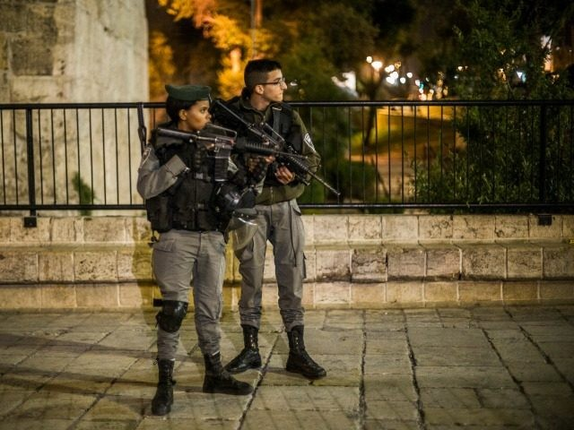 Police block the entrance to the old city on May 2, 2016 in Jerusalem, Israel. The old city of Jerusalem is on a lockdown, with police on high alert following the stabbing. (Photo by Ilia Yefimovich/Getty Images)