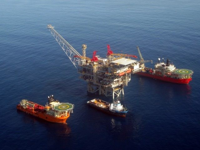 In this handout image provided by Albatross, The Tamar drilling natural gas production platform is seen some 25 kilometers West of the Ashkelon shore in February 2013 in Israel.
