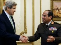 US Secretary of State John Kerry (L) shakes hands with General Abdel Fattah al-Sissi, Egyptian defence minister and commander of the armed forces, during a meeting at the defence ministry in Cairo on March 3, 2013.