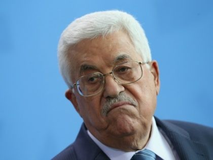 Palestinian President Mahmoud Abbas speaks to the media with German Chancellor Angela Merkel (not pictured) following talks at the Chancellery on April 19, 2016 in Berlin, Germany.