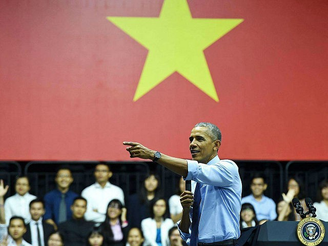 US President Barack Obama speaks at a Young Southeast Asian Leaders Initiative town hall event in Ho Chi Minh City on May 25, 2016. Obama fielded questions on May 25 on everything from rap and weed smoking to leadership and his good looks at a lively town hall-style meeting with …