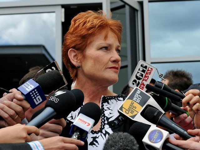 Controversial former Australian politician Pauline Hanson speaks to the media in Sydney after narrowly failing in her bid to win a seat in the New South Wales parliament on April 12, 2011 in Sydney.