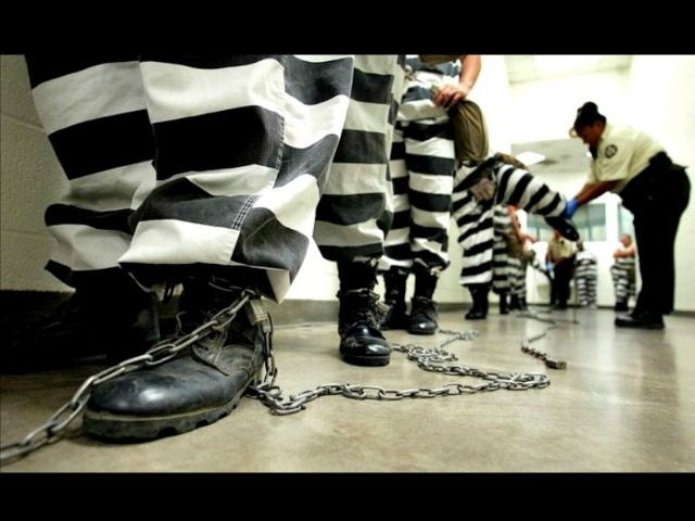 prisoners in stripes and shackles Reuters