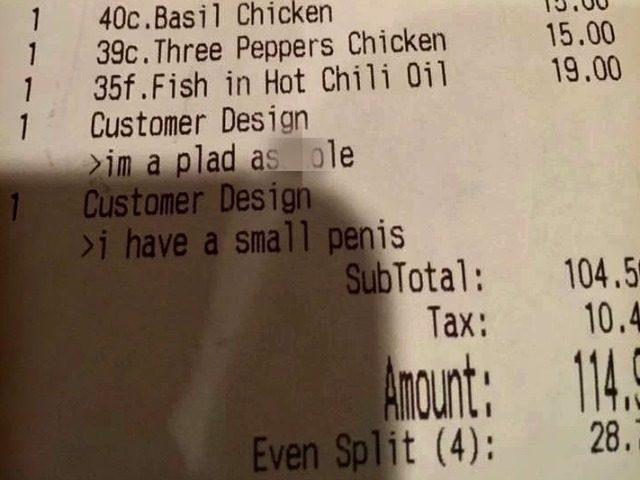 rude remark receipt