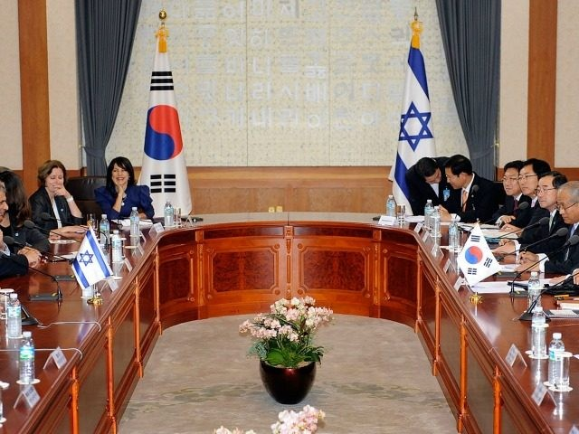 South Korean President Lee Myung-Bak (R) talks with Israeli President Shimon Peres (L) during their meeting at the presidential blue house on June 10, 2010 in Seoul, South Korea.