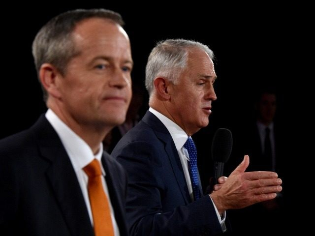 Leader of the Opposition Bill Shorten and Prime Minister Malcolm Turnbull participate in a Leaders Forum at Windsor RSL as part of the 2016 election campaign on May 13, 2016 in Sydney, Australia.