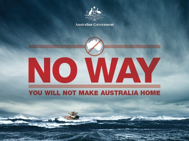 Warning sign issued by the Australian Government to stop boat arrivals.